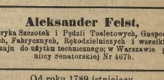 reklama fabryka Feista, gazeta rzemieślnicza, 1899